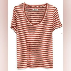 Madewell Alto Scoop Tee in Rustic Stripe M